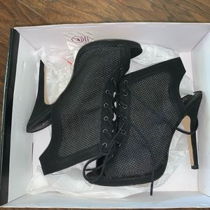 Black lace up mesh booties